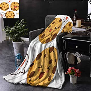 SSKJTC Kawaii Navy Throw Blanket Double-Sided Printing Chocolate Chip Cookies Japan Couch Bed Napping Reading Recliner W70 xL84