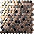 Hexagon Stainless Steel Brushed Mosaic Tile Bronze Copper Color Black Bathroom Shower Floor Tiles TSTMBT021 (10 Square Feet)