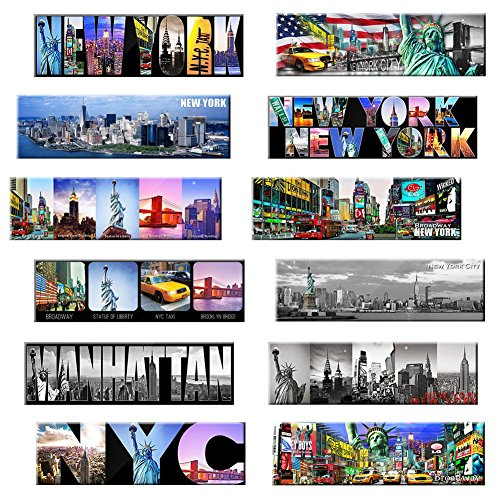 New York Panoramic Photo Magnets NYC 5x1.6 inch - Pack of 12