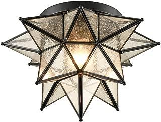 Dazhuan Boho Moroccan Seeded Glass Moravian Star Flush Mount Ceiling Light, Black, 15 Inches
