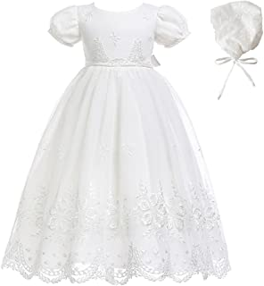 Baby-Girls Newborn Satin Christening Baptism Floral Embroidered Dress Gown Outfit