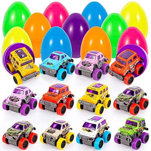 FunsLane Huevos de Pascua, 12 Piezas precargadas con Coches extraíbles, vehículos de Juguete para Regalos de Fiesta de Pascua, Rellenos de canastas de Pascua, Rellenos de Bolsas de Regalos