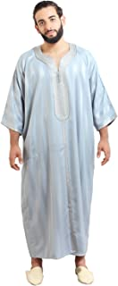 Moroccan Men Caftan Handmade Gandoura Cotton Blend Delicate Embroidery Grey