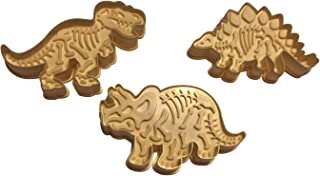 3 Dinosaur Shaped Cookie Cutters – 3-D Skeleton Fossil Super Set – Dino Shape Molds Cutters Stamps – T-Rex Triceratops Stegosaurus Shapes - by Jolly Jon