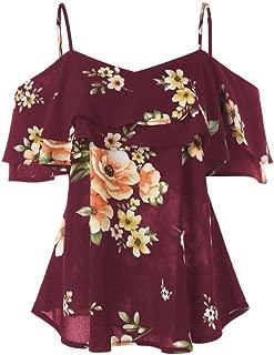 Botrong Women Floral Printing Shirt Sleeveless Vest Tank Top Blouse