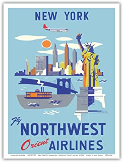 New York - USA - Manhattan, Empire State Building, Statue Liberty, Brooklyn Bridge - Fly Northwest Orient Airlines - Vintage Airline Travel Poster c.1950s - Master Art Print - 9in x 12in