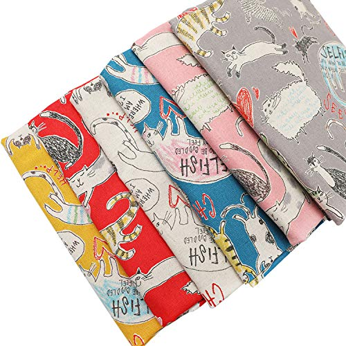 ChuanShui 6pcs Cotton Linen Quilting Fabric Bundles 6 Different Cartoon Animal Pattern Fat Quarters Fabric Bundle 22 x 18 inche(55x45cm) Good Design for Sewing and Patchwork and face Masks