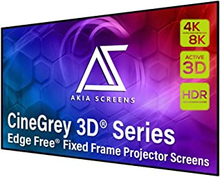 Akia Screens 103 inch Edge Free Fixed Frame Projector Screen 16:9, Ceiling and Ambient Light Rejection screen, CineGrey 3D...