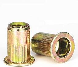 Rivet Nut, LOKMAN 100 Pieces 10-24UNC Carbon Steel Flat Head Rivnut Threaded Insert Nut, Knurled Body (10-24UNC)