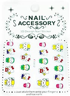 1 Sheet Yellow Red Green Hello Kitty Cat 3D Nail Art Self Adhesive Decals Stickers Applique Set DIY Resin, Scrapbooking, Design