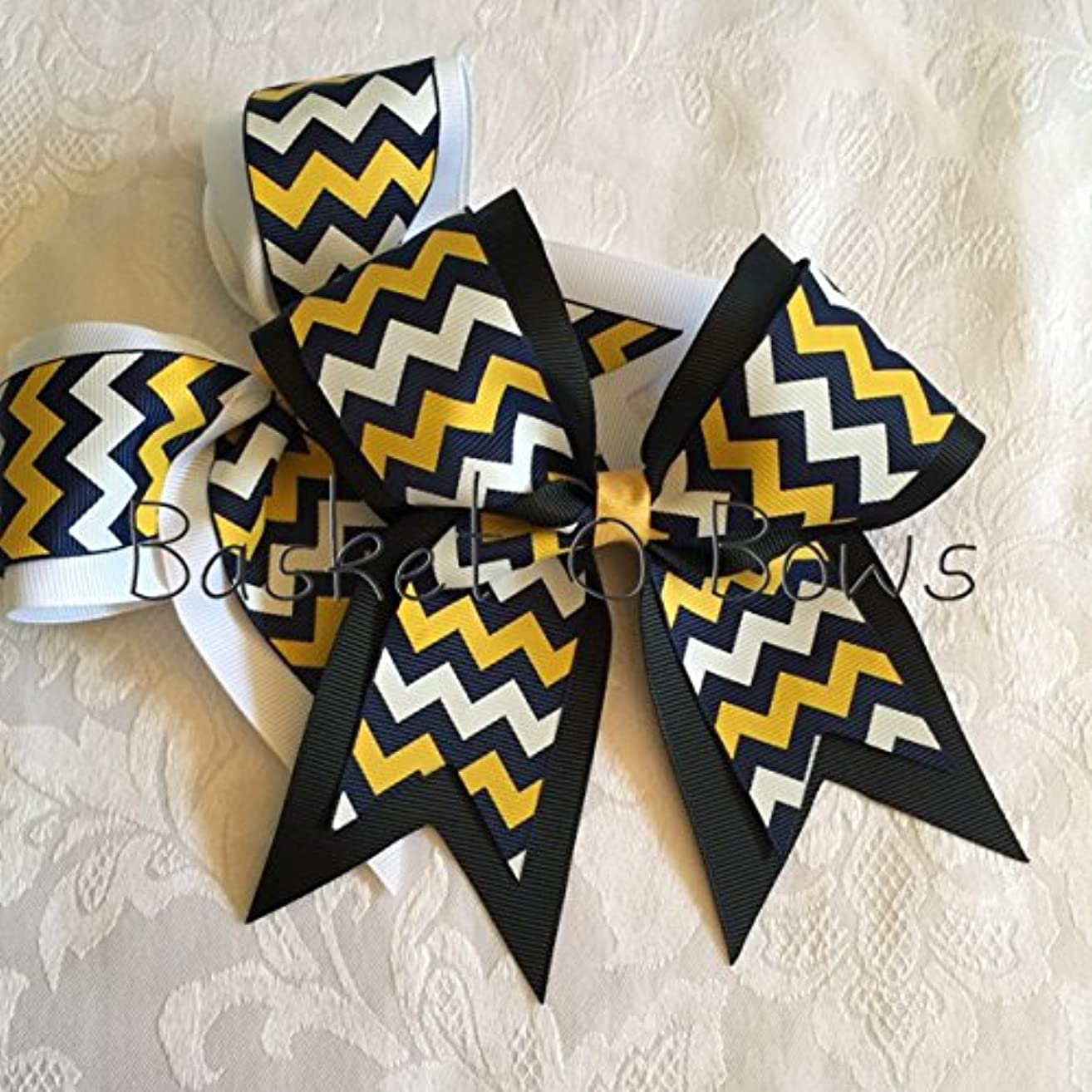 Small Bow ~ NAVY BLUE with WHITE/YELLOW-GOLD Chevron Hair Bow ~ 2-layer ~ Made to Order