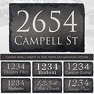 "Beautifully Handcrafted and Customizable Slate Home Address Plaque (12""x8"" 12""x6"" or 16""x10"") Personalized House Sign with and mounting hardware. Improve the curb appeal of your property"