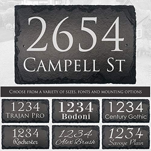 "Beautifully Handcrafted and Customizable Slate Home Address Plaque (12'x8"" 12'x6' or 16""x10"") Personalized House Sign with and mounting hardware. Improve the curb appeal of your property"