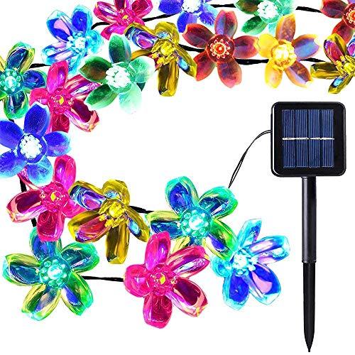 ENUOLI 50 LEDs Peach Blossom Fairy Lights Solar Garden Lights 21ft/7m 8 Twinkling Modes Decorative Outdoor Lighting Flower String Lights for Gazebo Patio Lawn Yard Wedding Ornament (Multicolour)