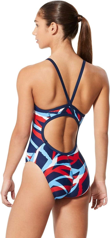 Speedo Womens Swimsuit One Piece PowerFlex Flyback Printed Adult Team Colors