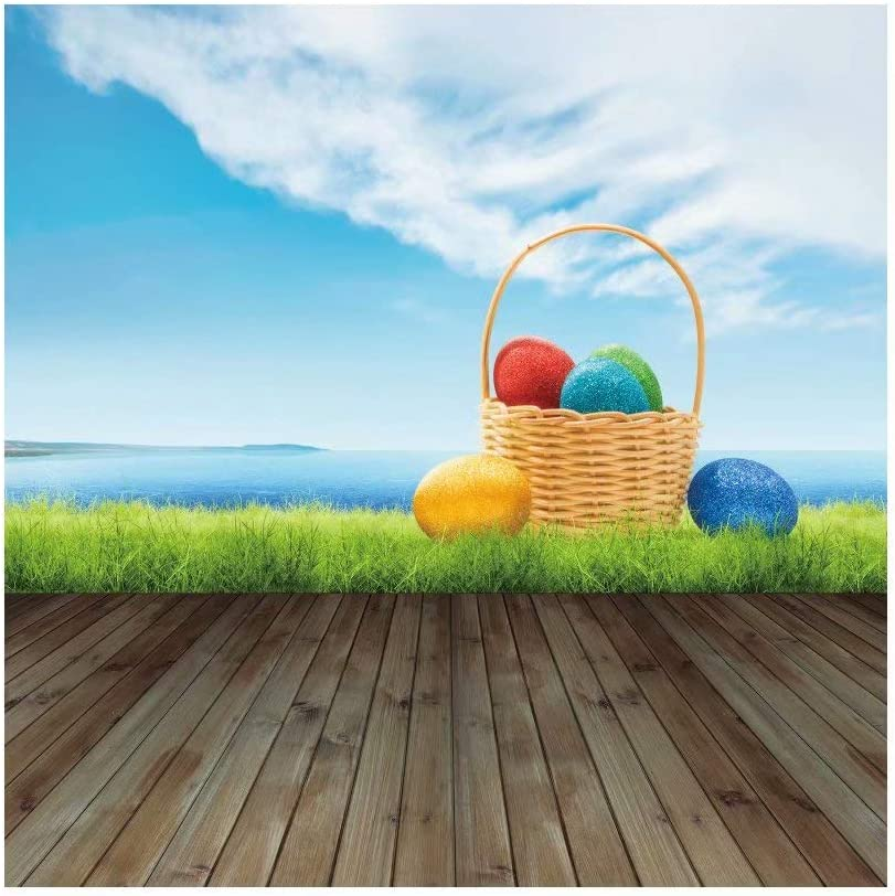 DaShan 10x10ft Spring Happy Easter Backdrop Dreamy Spring Colorful Easter Eggs Photography Background Sunshine Green Grass Lawn Children Baby Easter Party Decor Portrait Photo YouTube Props