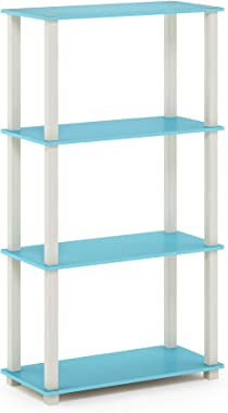 Furinno Turn-S-Tube 4-Tier Multipurpose Shelf Display Rack, Square, Light Blue/White