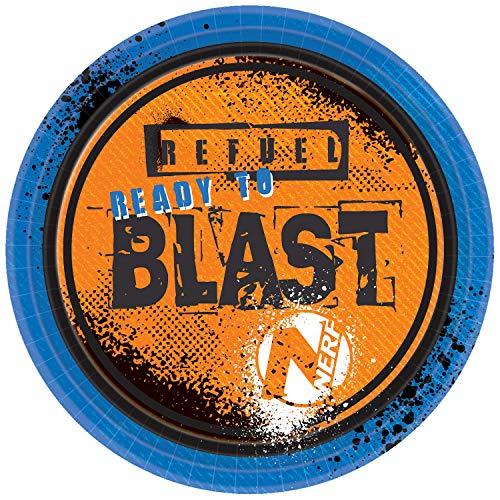 8 Piatti * Nerf * per Compleanni e Feste a Tema Hasbro Nitro Blaster N-Strike Elite Bambini Compleanno Compleanno Festa a Tema Ready to Blast