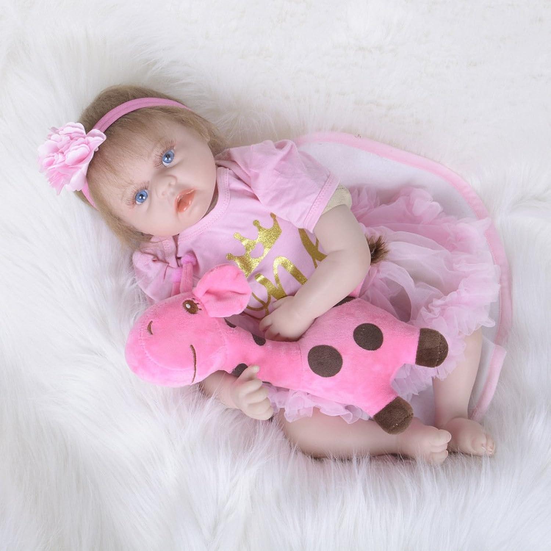 JHGFRT Reborn Babypuppe Kinderspielzeug Silikon Realistische Simulation Neugeborenen Sie Blaue Augen Mdchen Geburtstagsgeschenk 55 cm,A
