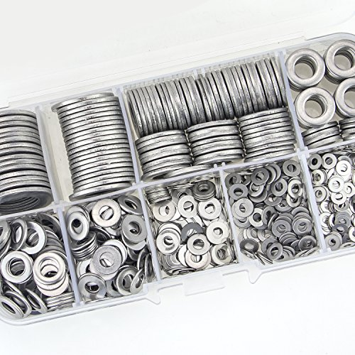 Sutemribor 304 Stainless Steel Flat Washers Set 580 Pieces, 9 Sizes - M2 M2.5 M3 M4 M5 M6 M8 M10 M12