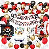 Décorations de fête d'anniversaire de pirate avec bannière de tatouage de pirate Bateau de pirate bateau ballons pour enfants 1er 2ème 3ème 5ème 6ème 10ème Pirate anniversaire à thème fournitures