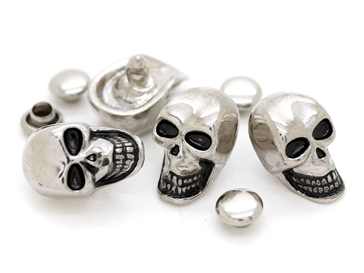 CRAFTMEmore Skull Decorative Rapid Rivet Studs for Bracelets Bags Belts Leathercraft 13x22MM Pack of 5 HQR184 (Silver)
