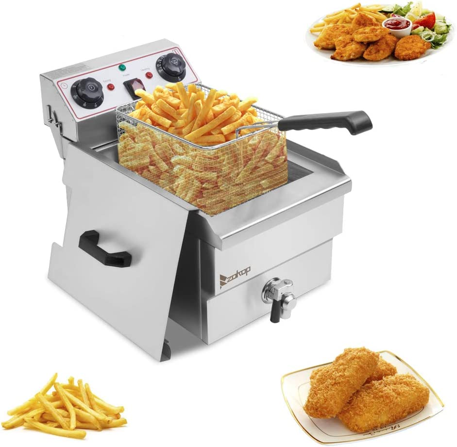 Lucakuins 1700W Stainless Steel Deep Fryer with Basket, 11.8L Capacity Oil Frying Pot with Handle, Electric Deep Fryer with Timer and Temperature Knobs for Home Silver (Single Tank)