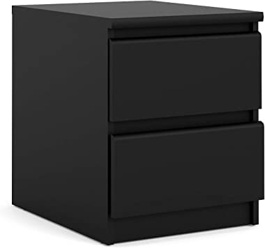 Tvilum 2 Drawer Nightstand, Black Matte