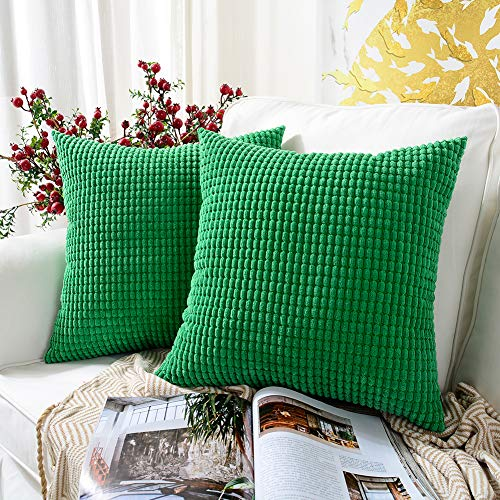 MERNETTE Pack of 2, Corduroy Soft Decorative Square Throw Pillow Cover Cushion Covers Pillowcase, Home Decor Decorations For Sofa Couch Bed Chair 18x18 Inch/45x45 cm (Granules Pine Green)
