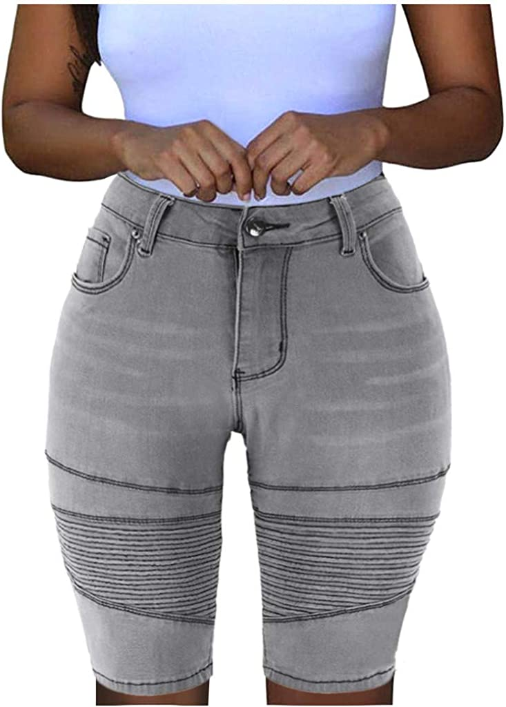 WUAI-Women Knee Length Stretchy Bermuda Denim Shorts High Waist Butt-Lifting Wrinkle Cuffed Denim Jean Shorts Plus Size