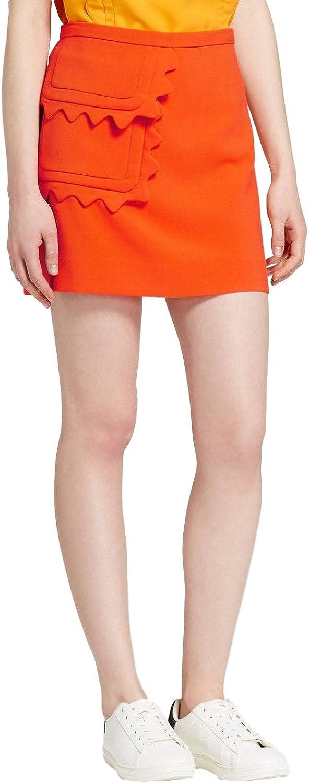 Victoria Beckham Women's Twill Skirt Scallop Trim Pocket
