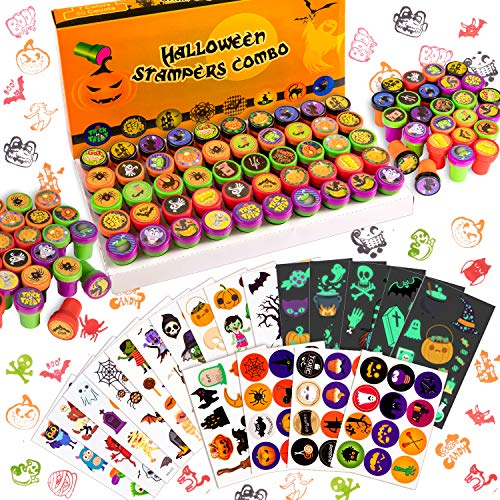 Whaline 300pcs Halloween Stamps Self-Inking Stampers Halloween Temporary Tattoos Night Glow Sticker Trick or Treat Stamps Halloween Halloween Party Favors Supplies for Kids Boys Girls