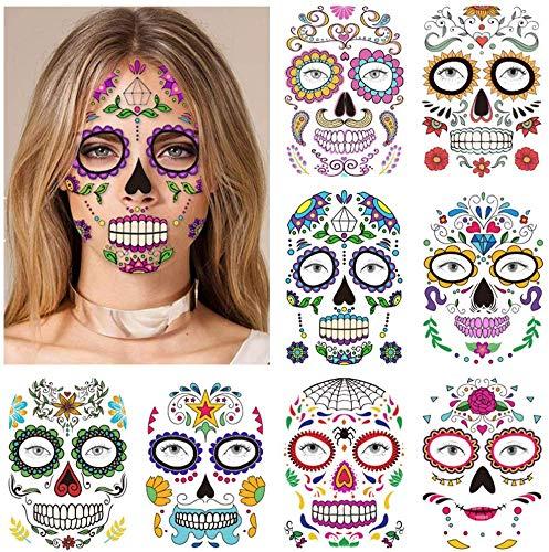 halloween tatuajes temporales de cara (9 hojas), halloween mascarada Día de los Muertos esqueleto cráneo cara completa tatuajes de maquillaje para mujeres Hombres adultos Niños Halloween Masca