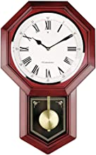 MQQ Old-Fashioned Wall Clock Battery Operated Quartz Wood Pendulum Clock Silent Wooden Schoolhouse Regulator Design Decorative Wall Clock Pendulum for Living Room Kitchen Home 18