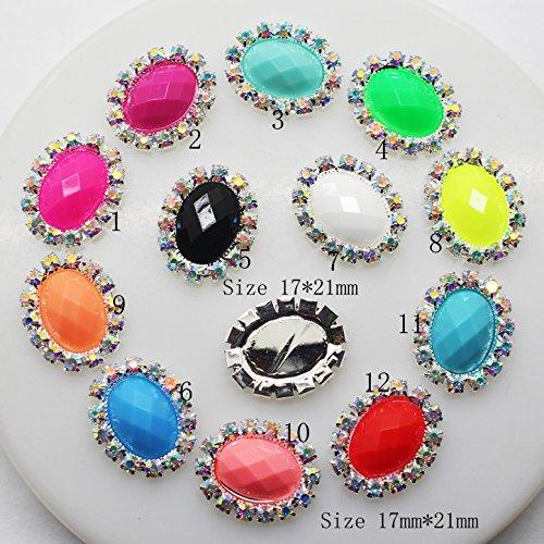 30 pcs 17 Mmx21 mm ovale Acrylique Décoration strass Bouton Flateback DIY Accessoires Mix 12 couleurs