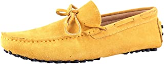 Santimon Mens Suede Leather Driving Walking Moccasins Loafer Lace Shoes