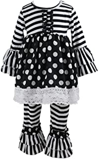 Wennikids Children Baby Girls Polka Dot Lace Trim Dresses & Ruffle Pants Outfits Sets