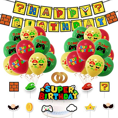 Gxhong Décoration de fête d'Anniversaire Super Mario, Ensemble de Bannière Ballon Joyeux Anniversaire, Animation, Fournitures de Fête pour Enfants sur le Thème du jeu Vidéo