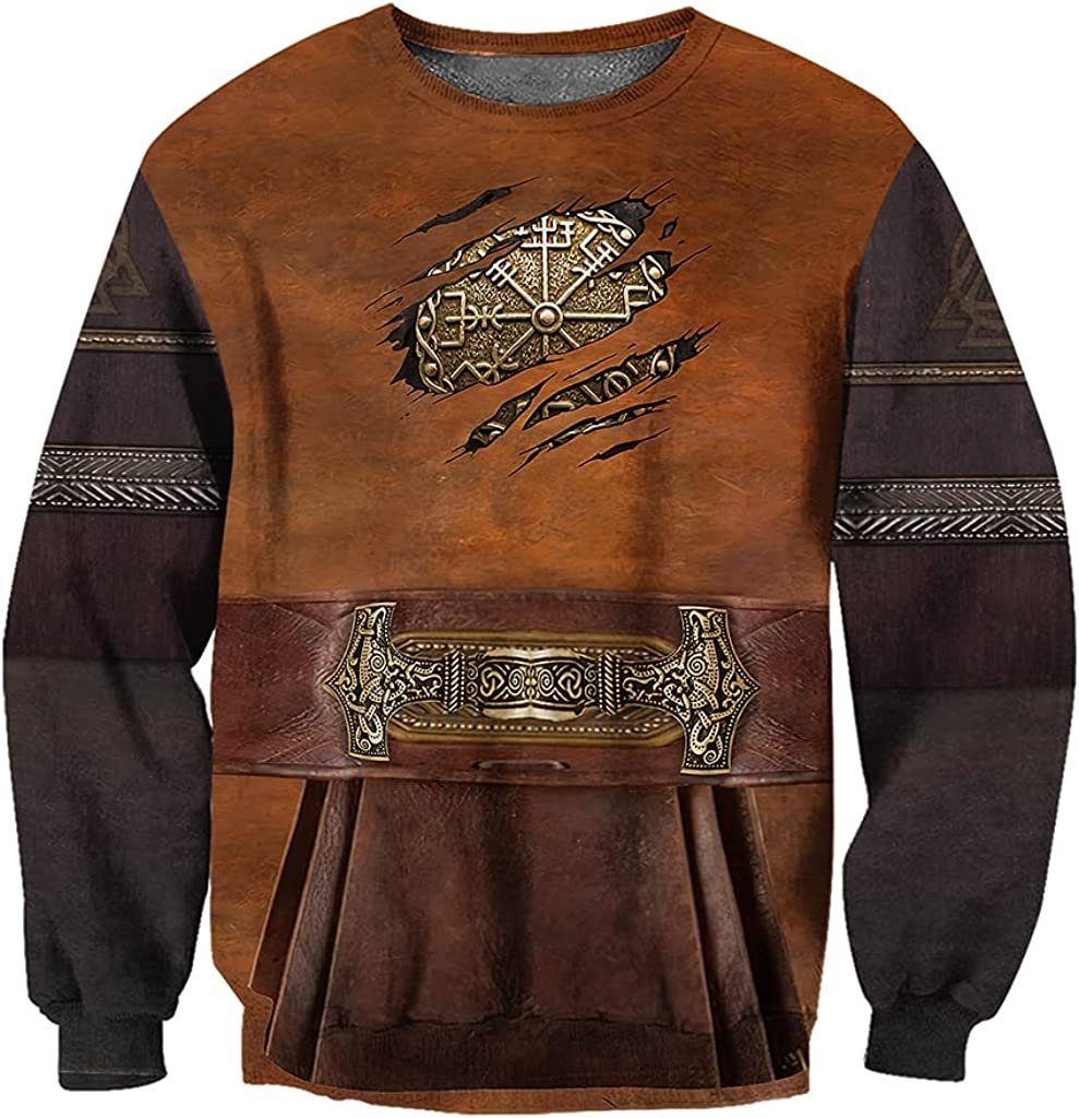 Men 3D Print Vegvisir Tattoo Armor Hoodie, Norse Viking Compass Streetwear Long Sleeve Casual Sweatshirt