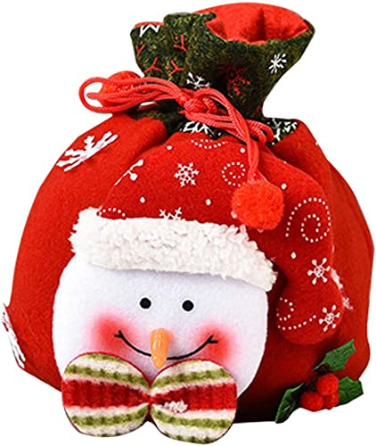 OPTIMISTIC Christmas Felt Candy Bag, Bags with Drawstring for Party Favors Gifts and Candy, Christmas Candy Bag Pouch, Cute Santa Claus,Christmas Table Decor, 8.5Inch (C)