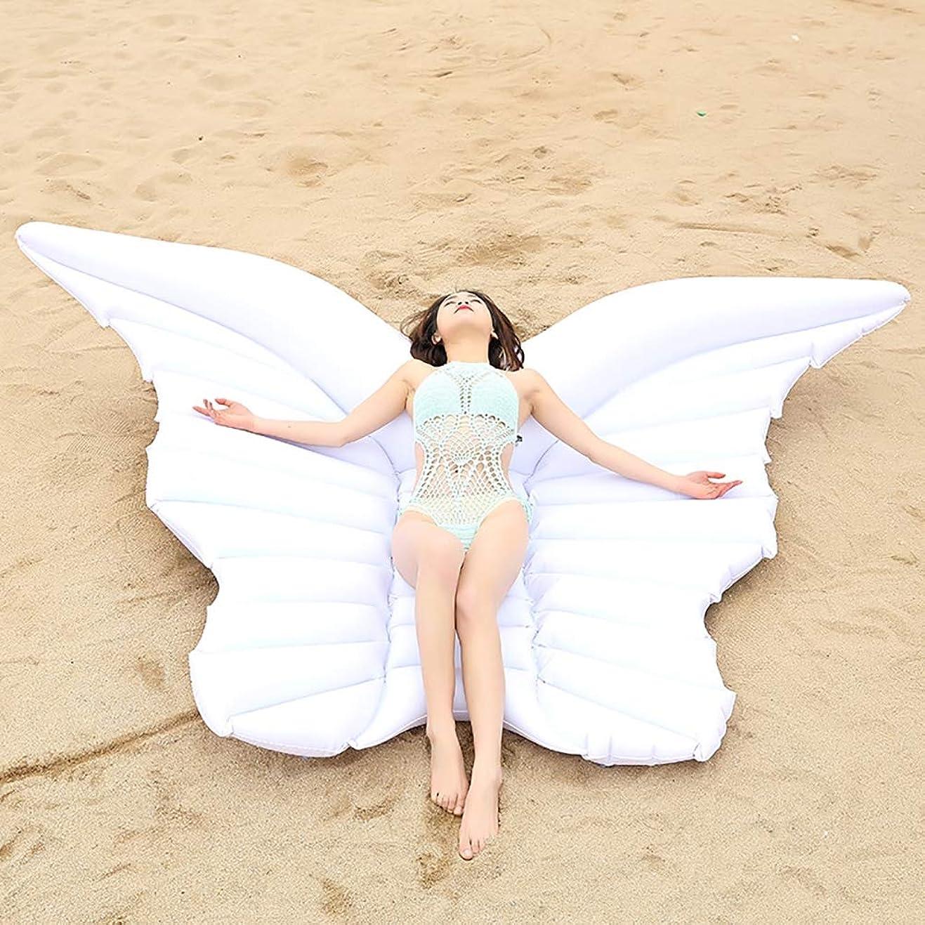 聖なる樹皮手屋外水泳フローティングベッドインフレータブルクッションサイズ:240 cm * 145 cm pvc天使の羽フローティング大人排水リクライニングチェア
