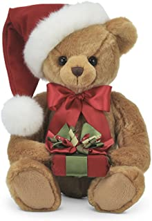 Bearington Holden Presents Christmas Stuffed Animal Teddy Bear in Santa Hat, 15 inches