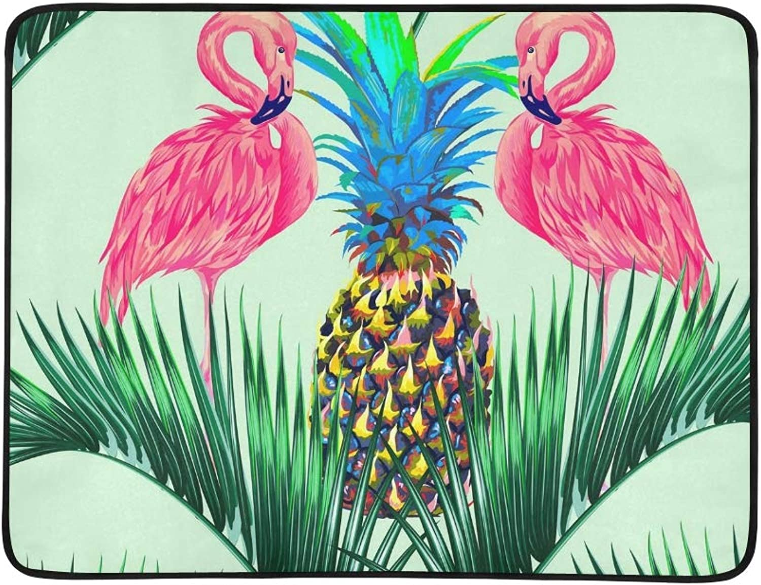 Pink Flamingos Exotic Birds Palm Leaves Portable and Foldable Blanket Mat 60x78 Inch Handy Mat for Camping Picnic Beach Indoor Outdoor Travel
