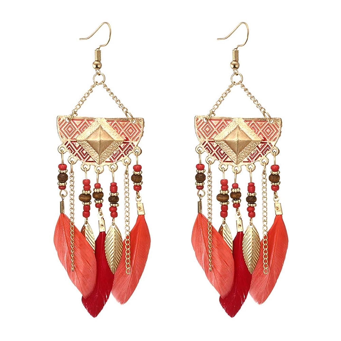 ANJUNIE Beaded Feather Tassel Earrings,Fan-shaped Beaded Fringe Drop Earrings for Womens Gift