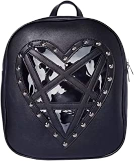 Gothic Backpack Purse for Women Studded Ita Bag Star Transparent Front
