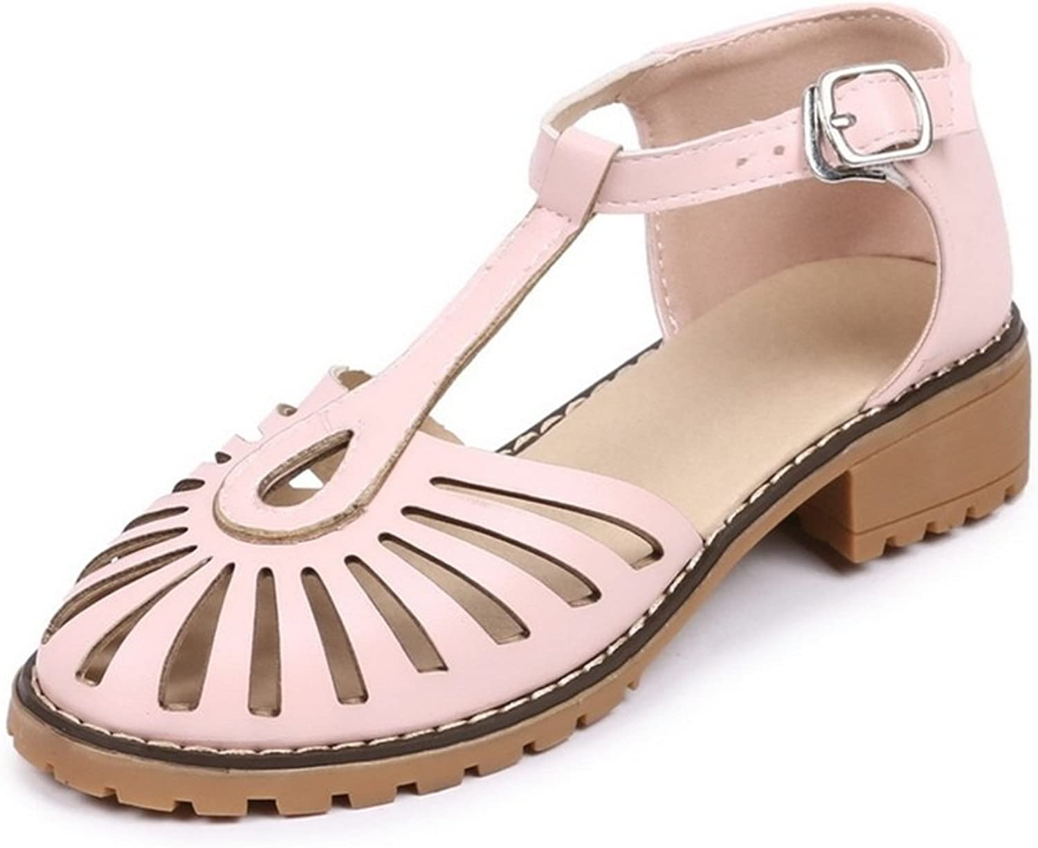Women's shoes PU Spring Summer Sandals Low Heel Glossy Hole shoes for Casual Dress Party & Evening White Black Beige Pink