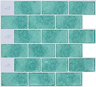 HUE DECORATION Peel and Stick Subway Tile Backsplash for Kitchen, Aqua Backsplash Tile 11.26