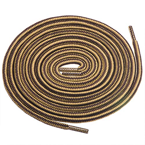 Birch 1/5' Thick Tough and Heavy Duty Round Boot Laces for Boots and Hiking Shoes. (45'(115cm)-S, Brown/Tan)