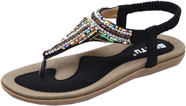 BOLUOYI Sandals Womens Flat Dressy,Summer Sandals Flat,Beach Sandals for Women,Bohemian Sandals Women Flat shoes Bead Bohemia Leisure Lady Sandals Peep-Toe Outdoor shoes
