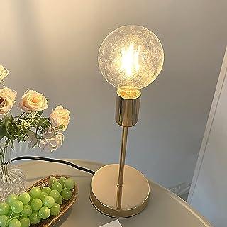 QXXZ Lampe de Table Simplicité Moderne avec E27 Ampoule Ronde Veilleuse, Lampe de Chevet d'or Rétro pour Chambre à Couche...